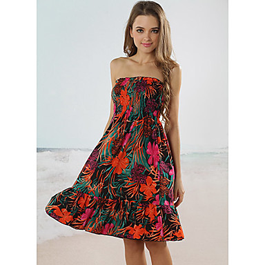 Plaja fata fara bretele Floral Print Wrap Beach Dress