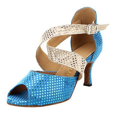 Dámské Boty na latinskoamerické tance / Standardní Semiš Vysoké podpatky / Sandály Přezky Kačenka Taneční boty Modrá