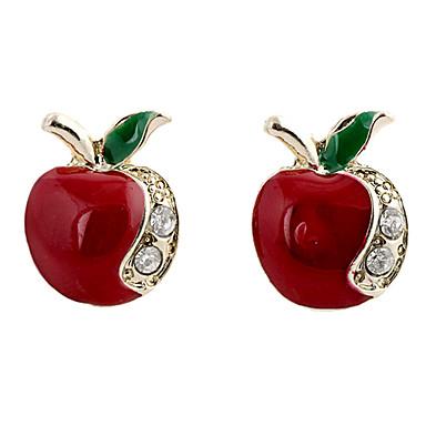 hesapli Kadın Takıları-Kadın's Vidali Küpeler Apple Bayan Lüks Moda Yapay Elmas Simüle Elmas Küpeler Mücevher Uyumluluk Parti Günlük Spor