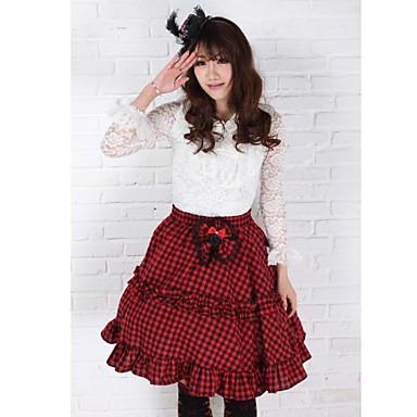 Sukně Gothic Lolita / Sweet Lolita / Klasická a tradiční lolita Elegantní Cosplay Lolita šaty Červená Pléd Bez rukávů Medium Length Sukně