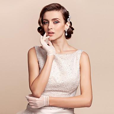 abordables Gants de Fête-Coton / Nylon Longueur Poignet Gant Charme / Elégant / Gants de Mariée Avec Broderie / Couleur Unie