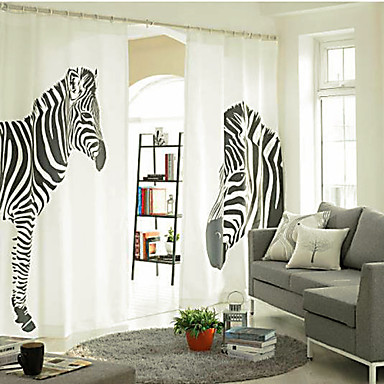 Two Panels Curtain Designer, Print Animal Bedroom Linen / Cotton Blend Material Curtains Drapes Home Decoration