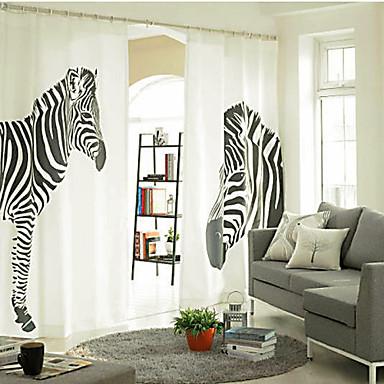 zwei Panele Window Treatment Designer, Druck Tier Schlafzimmer Leinen  /  Baumwollmischung Stoff Vorhänge drapiert Haus Dekoration