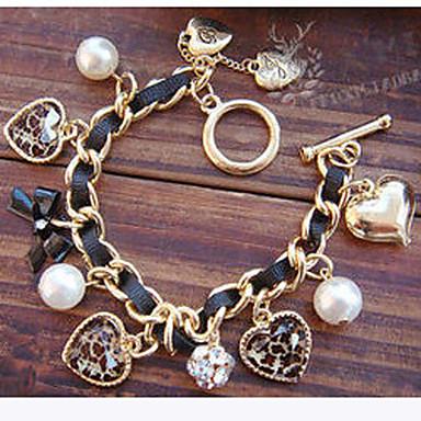 Damen Perle Künstliche Perle Diamantimitate Herz Schleifenform Bettelarmbänder - Luxus Liebe Europäisch Schleifenform LOVE Goldenschwarz