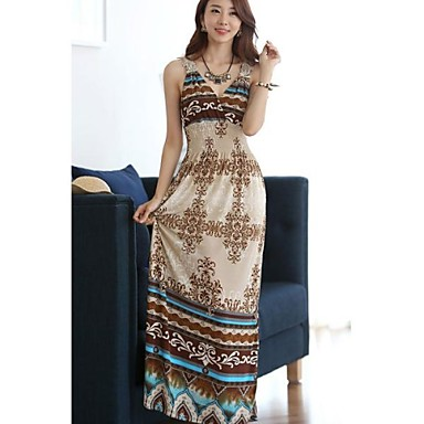 boho μπεζ φόρεμα των γυναικών db6f25bb0c3