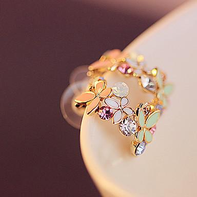 Mulheres Brincos Curtos Cristal Chapeado Dourado Imitações de Diamante Jóias Arco-Íris Festa Diário Casual Jóias de fantasia