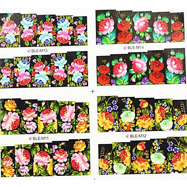 4ni1 colorate Transfer de flori de apa de imprimare Nail Art Stickere