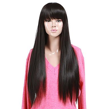 Synthetische Perücken Glatt Mit Pony Synthetische Haare 22 Zoll Perücke Damen Kappenlos