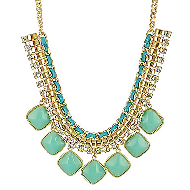 Women's Tassel Chunky Statement Necklace - Statement, Ladies, Tassel, European Green, Blue, Pink Necklace Jewelry For Daily
