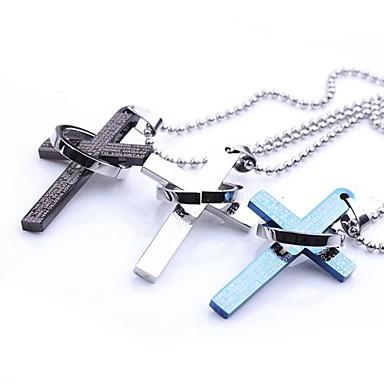 Herrn Anhängerketten - Edelstahl Kreuz, Drache damas Schwarz, Silber, Blau Modische Halsketten Schmuck Für Party, Alltag, Normal, Sport