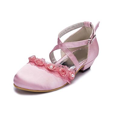Fete Pantofi Flați Confortabili Satin Primăvară Vară Toamnă Iarnă Nuntă Party & Seară Confortabili Volane Toc Plat Negru Alb RozPlat Sub
