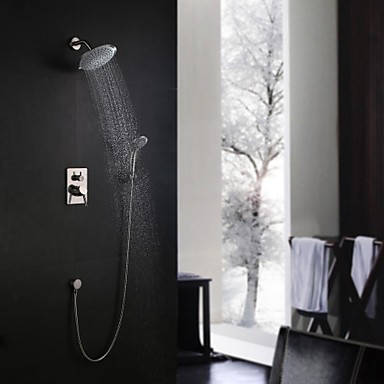 Contemporary Wall Mounted Rain Shower Handshower Included Ceramic Valve Three Holes Single Handle Three Holes Nickel Brushed, Shower