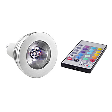 3W 150lm E14 / GU10 LED Spot Işıkları MR16 1 LED Boncuklar Yüksek Güçlü LED Uzaktan Kumandalı RGB 85-265V