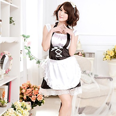 8feafa1fb Women s Sexy Lingerie Housemaid Maidservant Princess Uniform Cosplay  Costume Black with White Apron