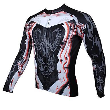 ILPALADINO Herrn Langarm Fahrradtrikot Totenkopf Motiv Fahhrad Trikot / Radtrikot, warm halten, Rasche Trocknung, UV-resistant