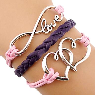 Miss ROSE®European Heart 18cm Women's Multicolor Leather Wrap Bracelet(1 Pc)