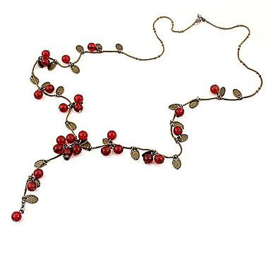 baratos Bijuteria de Mulher-Mulheres Cora Vermelha Colares em Corrente Cereja Fruta senhoras Fashion Acrílico Liga Vermelho Colar Jóias Para Festa Diário Casual