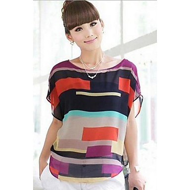 Mujer Estilo moderno - Camiseta Retazos Poliéster