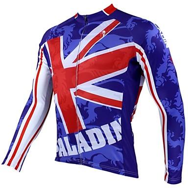 ILPALADINO Herrn Langarm Fahrradtrikot Nationalflagge Britisch Fahhrad Trikot / Radtrikot Oberteile, Atmungsaktiv warm halten Rasche Trocknung 100% Polyester / UV-resistant