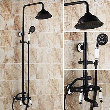 Shower Faucet Antique Oil Rubbed Bronze System Ceramic Valve Bath Mixer Taps Br Two Handles Three Holes