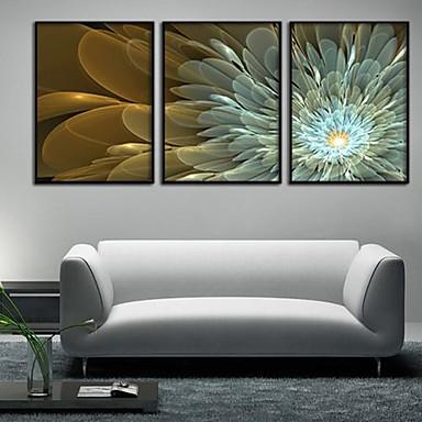 Leinwand-Set Blumenmuster/Botanisch Modern Traditionell,Drei Paneele Horizontal Druck-Kunst Wand Dekoration For Haus Dekoration