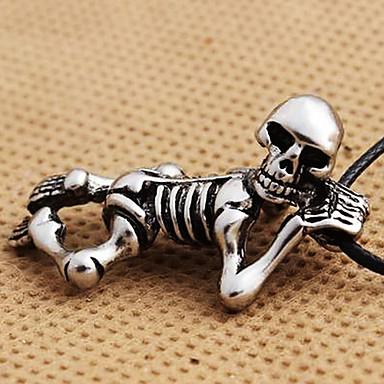 Punk Skull Black Leather Pendant Necklace (1 Pc)