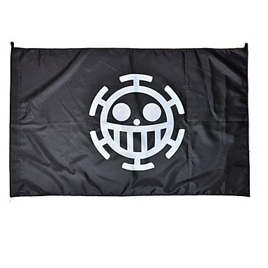 Cosplay Accessories Inspired by One Piece Cosplay Anime Cosplay Accessories Flag White / Yellow Terylene Male
