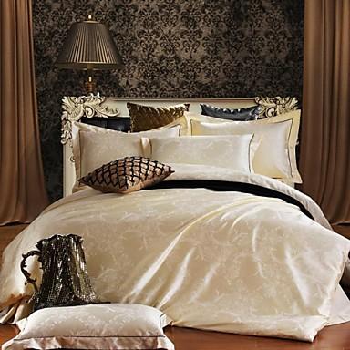 Bettbezug-Sets Blumen 4 Stück Seide/Baumwolle Jacquard Seide/Baumwolle 4-teilig (1 Bettbezug, 1 Bettlaken, 2 Kissenbezüge)
