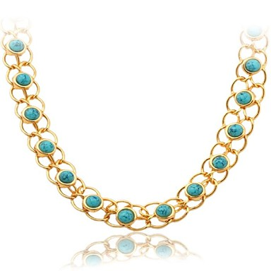 Damen Türkis Halsketten / Statement Ketten - vergoldet, Türkis Modisch Modische Halsketten Für Hochzeit, Party, Alltag