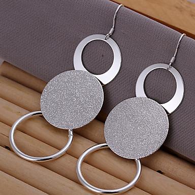 Kadın's Vidali Küpeler Pirinç Gümüş Circle Shape Geometric Shape Mücevher