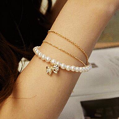 Módní Sladká Diamanted Bowknot Dámské White imitace Pearl Strnad náramek (1 ks)