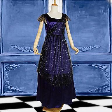 Gotisk Lolita Elegant Dame Et-Stykke Kjoler Cosplay Blå Kortærmet
