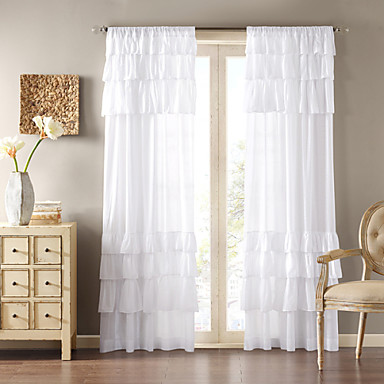 One Panel Curtain Country Solid Living Room Polyester Material Curtains Drapes Home Decoration