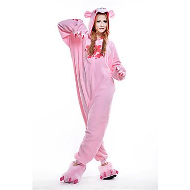Erwachsene Kigurumi-Pyjamas Waschbär Bär Düsterer Bär Pyjamas-Einteiler Polar-Fleece Rosa Cosplay Für Herren und Damen Tiernachtwäsche Karikatur Fest / Feiertage Kostüme