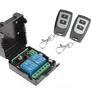12V 2-Channel Wireless Remote Power Relay Module with Double Remote Controller (DC28V-AC250V)