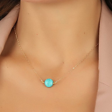 Women's Jewelry Shape Basic European Pendant Necklace Resin Turquoise Alloy Pendant Necklace Party Daily Casual Costume Jewelry