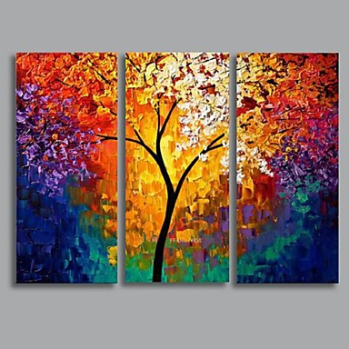 Ručně malované Krajina Horizontální Plátno Hang-malované olejomalba Home dekorace Tři panely