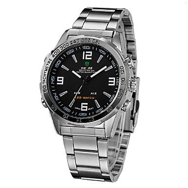 WEIDE Erkek Bilek Saati Alarm / Takvim / Kronograf Paslanmaz Çelik Bant Lüks Gümüş / Su Resisdansı / LED / Çift Zaman Bölmeli / İki yıl / + 2025 Maxell626