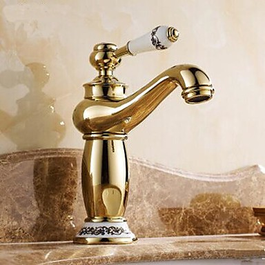 Traditional Centerset Ceramic Valve One Hole Single Handle One Hole Ti-PVD, Bathroom Sink Faucet