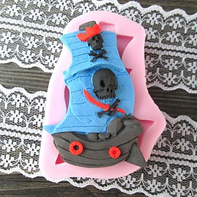 Pirate bådformet BakeFondant kageform, L8cm * W5.8cm * H1.5cm