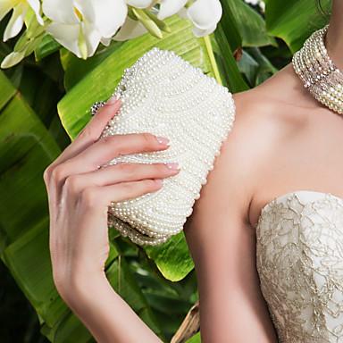 Pentru femei Genți MetalPistol Geantă Seară Imitație de Perle / Cristale / Strasuri Alb / Negru / Maro deschis / Pungi de nunta