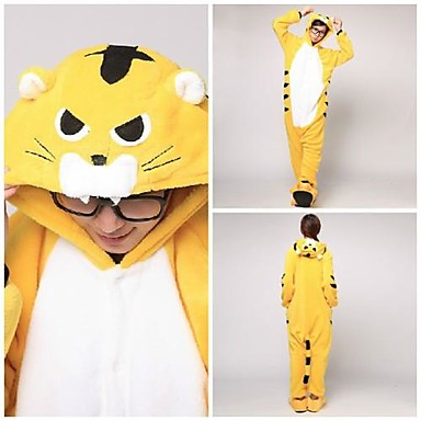 Kigurumi Pajamas Tiger Onesie Pajamas Costume Coral fleece Yellow Cosplay For Adults' Animal Sleepwear Cartoon Halloween Festival /