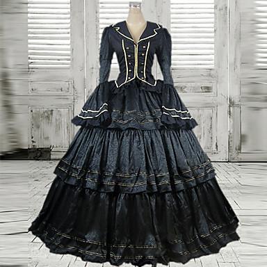 Gothic Lolita Viktoria Tarzı Dámské Jednodílné Šaty Cosplay Dlouhý rukáv