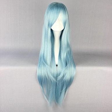 Pelucas de Cosplay Alicización de SAO Asuna Yuuki Azul Animé Pelucas de Cosplay 34 pulgada Fibra resistente al calor Mujer Pelucas de Halloween