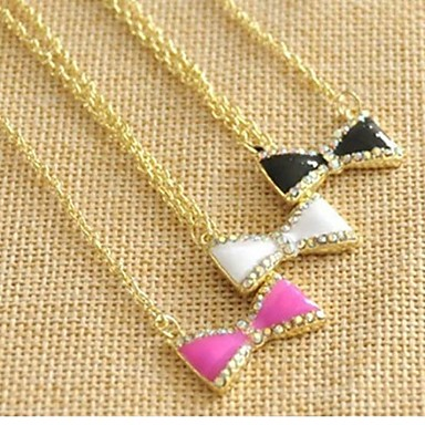 Women's Pendant Necklace - Rhinestone White, Black, Rose Necklace For Wedding, Party, Daily