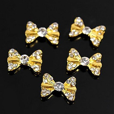 10pcs Bling Charm Golden Bow Tie 3D Alloy Rhinestones Nail Art Decoration