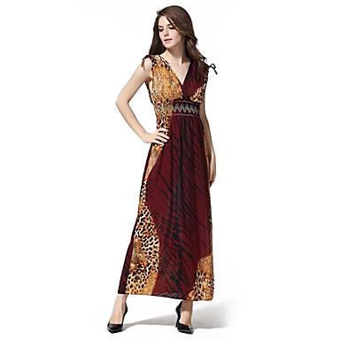 bc1856c17637 Γυναικεία μόδα βαθύ V Neck Leopard Εκτύπωση μποέμ Maxi Φορέματα (Pattern  Τοποθεσία τυχαία)