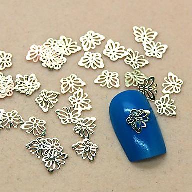200pcs de design fluture gol de metal de aur decorare felie unghii
