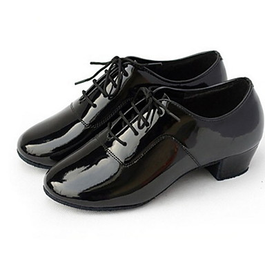 Ανδρικά Παπούτσια χορού λάτιν / Αίθουσα χορού PU Οξφόρδης Κορδόνια Χαμηλό τακούνι Μη Εξατομικευμένο Παπούτσια Χορού Μαύρο / Δέρμα