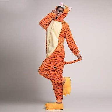 Пижама и тапочки кигуруми Tiger Цельные пижамы Костюм Коралловый флис Оранжевый Косплей Для Взрослые Нижнее и ночное белье животных